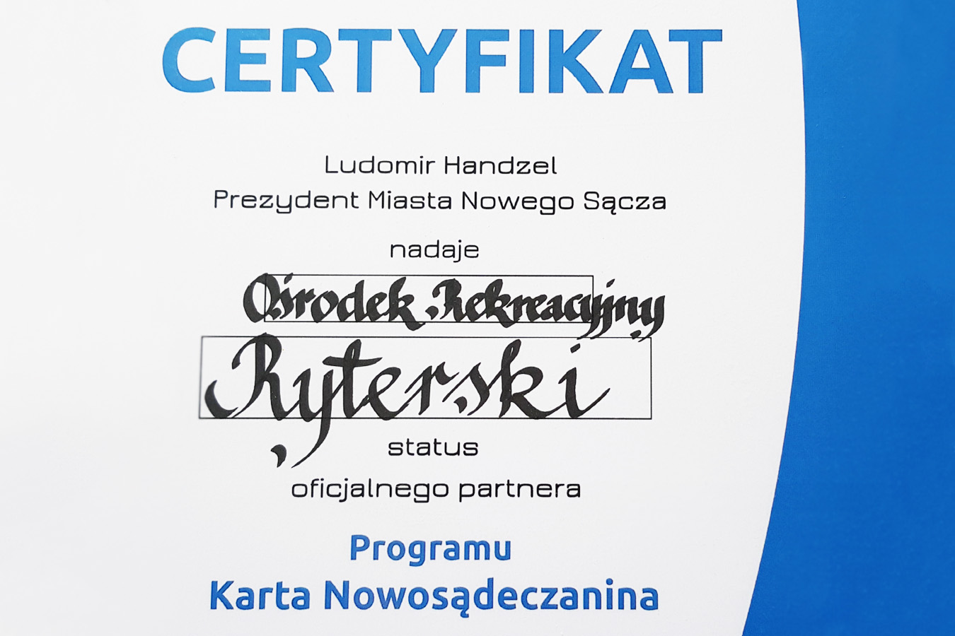 RyterSKI.pl - certyfikat Karta Nowosądeczanina